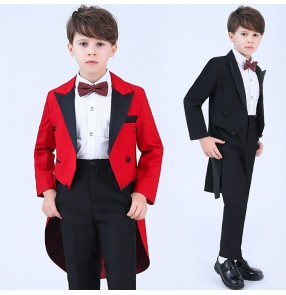 Boy's singer piano suits host magician flower boys stage performance costumes tuxedo tops and pants and shirts and neck bow