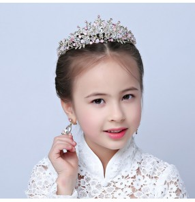 Flower girls princess beaded head crown headdress kids children performance crystal hair jewelry crown and earrings