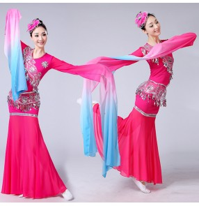 Women's Chinese folk dance costumes Yangko fan dance traditional ancient classical dance fairy chang e cosplay water sleeves dress