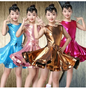 Girls latin dresses pink blue gold glitter ballroom salsa chacha rumba dance skirts for kids stage performance competition dresses