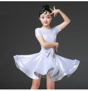 Kids latin dresses for girls white pink ballroom salsa chacha rumba samba dance skirts costumes dresses