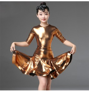 Girls latin dresses kids modern dance glitter competition stage performance rumba salsa chacha dance skirts costumes