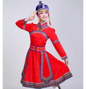 Women's Mongolian dance dresses costumes chinese folk dance stage performance drama cosplay dresses clothes