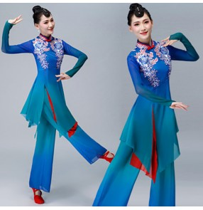 Women's Chinese folk dance costumes blue colored yangge fan umbrella china traditional dance dresses costumes