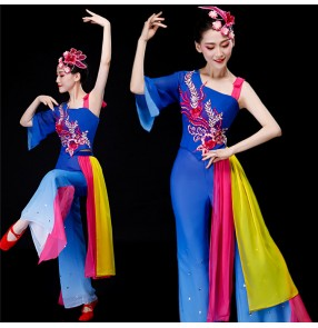 Women's chinese folk dance costumes china traditional dance royal blue yange fan umbrella stage performance fan dance dresses