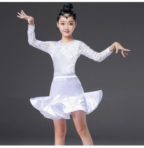 Girls latin dresses costumes white lace samba salsa chacha dresses