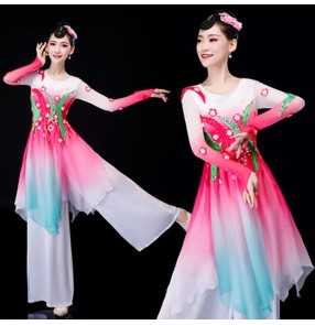 Women's Chinese folk dance costumes girls yangge fan dance dress pink ancient traditional fairy dance dresses