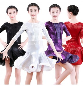Girls latin dance dresses stage performance kids children professional samba salsa chacha dance skirts