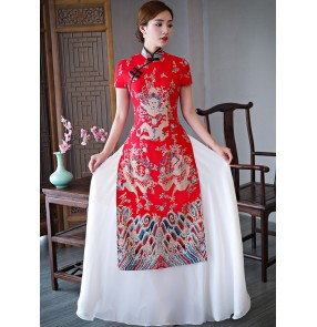 Women's chinese dresses oriental china traditional bridesmaid qipao dresses wedding party photography cheongsam