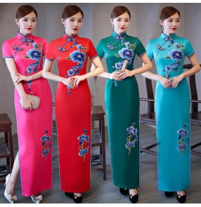 Women's chinese dresses traditional brocade qipao oriental show wedding party ceremonial dresses
