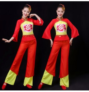 Women's chinese folk dance costumes ancient traditional yangko drummer fan umbrella dance dresses costumes