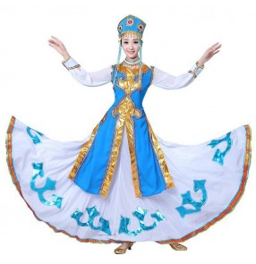 Women's Girls Mongolian dance costumes national Mongolia Drama cosplay robes dresses