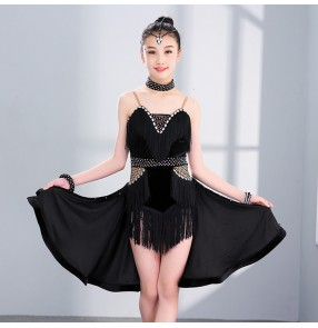 Kids girls latin dresses black fringes diamond competition rumba salsa chacha dance skirts costumes