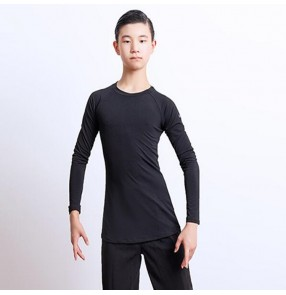Boy latin ballroom dance tops t shirts kids black color rumba salsa chacha samba dance competition stage performance tops