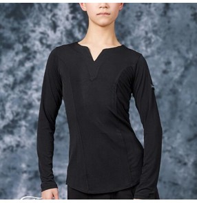 Boy latin ballroom dance tops t shirts kids children salsa rumba chacha dance tops