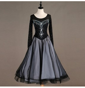 Women's kids ballroom dance dresses girls waltz tango flamenco competition dresses