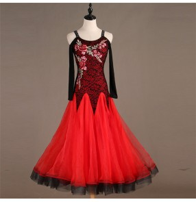 Women's girls ballroom waltz tango dance dresses flamenco stage performance ballroom dancing dresses