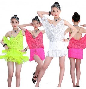 Girls latin dance dresses competition stage performance salsa chacha dance skirts costumes