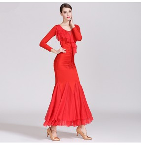 Women's ballroom dancing dresses vestito da ballo per donna black red waltz tango dance dress costumes