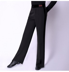 Men's latin dance pants black velvet ribbon side competition performance male ballroom tango waltz dance trousers long pants