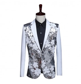 Men's jazz dance singer performance blazers floral paillette modern dance host night club dance tops jackets blazer