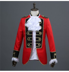 Men's European palace court princess drama cosplay coats military march performance jackets