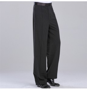 Men's ballroom latin dance striped pants male side waist with ribbon competition samba jive chacha samba dance long trousers pants