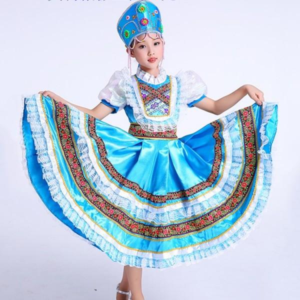 d4e0cb6cc88 Girls Russian folk dance costumes dress European palace princess party stage  performance drama cosplay dresses costumes dresses