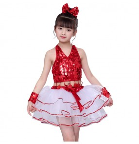 Girls kids modern jazz costumes princess kids sequin ballet dress singers host chorus show performance dresses costumes