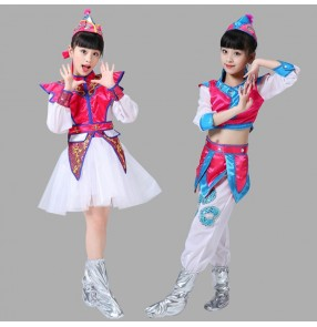 Girls kids Mongolian costumes children chinese folk dance costumes stage performance drama cosplay clothes dresses