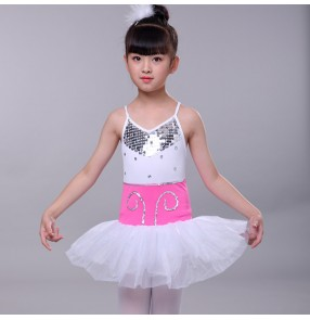 Girls ballet dress white sequin modern dance jazz dance costumes singer show stage performance chorus dress