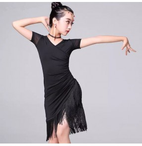 Girls latin dance dresses black royal blue modern dance stage performance rumba salsa chacha dance skirts costumes
