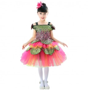 Girls modern dance jazz dance princess dress paillette singer kindergarten kids show performance dresses