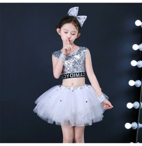 Girls modern jazz dance princess dress ballet costumes paillette stage show performance cosplay dress skirt costumes