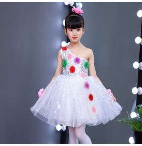 Girls kids modern dance ballet dresses children singers host stage performance chorus flower girls princess dress