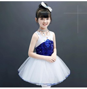 Kids girls princess modern dance dresses flower girls ballet stage performance chorus dresses costuems