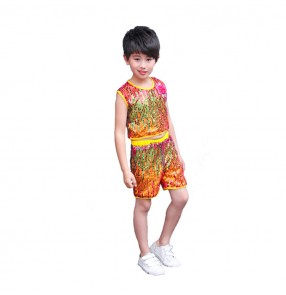 Kids children rainbow sequin modern street jazz dance costumes princess flower girls boy hiphop model show performance outfits costumes