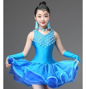 Girls competition latin dance dresses kids children beads rhinestones modern dance stage performance professional ballroom dance dresses costumes
