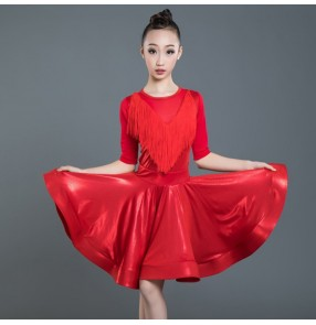 Girls competition training Latin tassels ballroom dresses kids children exercises rumba salsa chacha dance skirts costumes dress