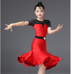 Kids latin dance dresses ballroom rumba chacha salsa dresses children girls stage performance modern dance dress costumes