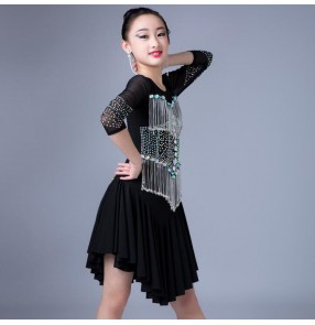 Girls latin dresses modern dance kids children rhinestones competition rumba chacha dancing skirts costumes dress