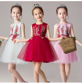 Kids girls princess ballet dress modern dance host singers chorus dresses stage performance flower girls dress costumes