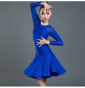 Girls competition latin dresses kids girls children ballroom training professional exercises dresses costumes