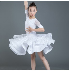 Girls white lace latin ballroom dancing dresses kids children rumba samba training chacha latin dance dresses