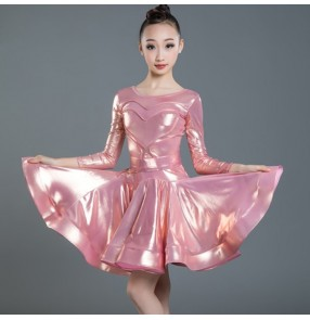 Girls pink ballroom latin dancing dresses glitter shiny skirts costumes modern dance rumba chacha salsa dance dresses