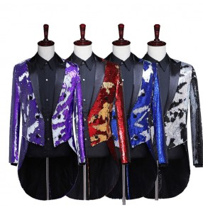 Men's jazz modern dance paillette coats male host singers magician stage performance tuxedo coats jackets