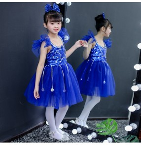 Girls modern princess jazz singers kindergarten host chorus dresses blue ballet dresses for kids