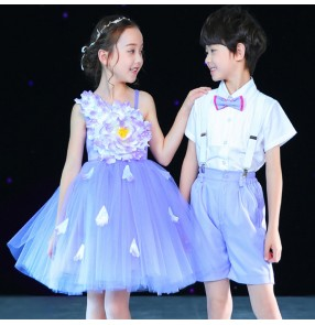 Children stage performance host singers chorus petals flower dress boys girls kids school uniforms costumes