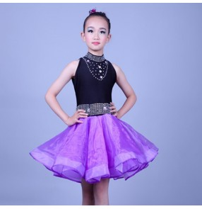 Girls latin dance dresses kids children competition stage performance rumba salsa chacha dance skirts costumes
