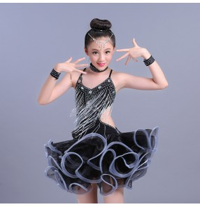 Girls kids latin dance dresses kids children beads fringes backless stage performance competition rumba salsa chacha dance skirts costumes